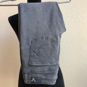 American Eagle Grey Super Soft Crop Skinny Jeans